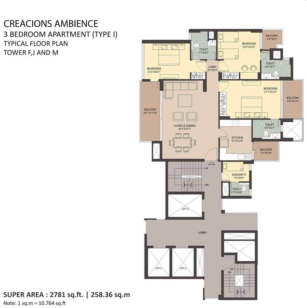 3BHK Typical-floor Tower-F-J-M