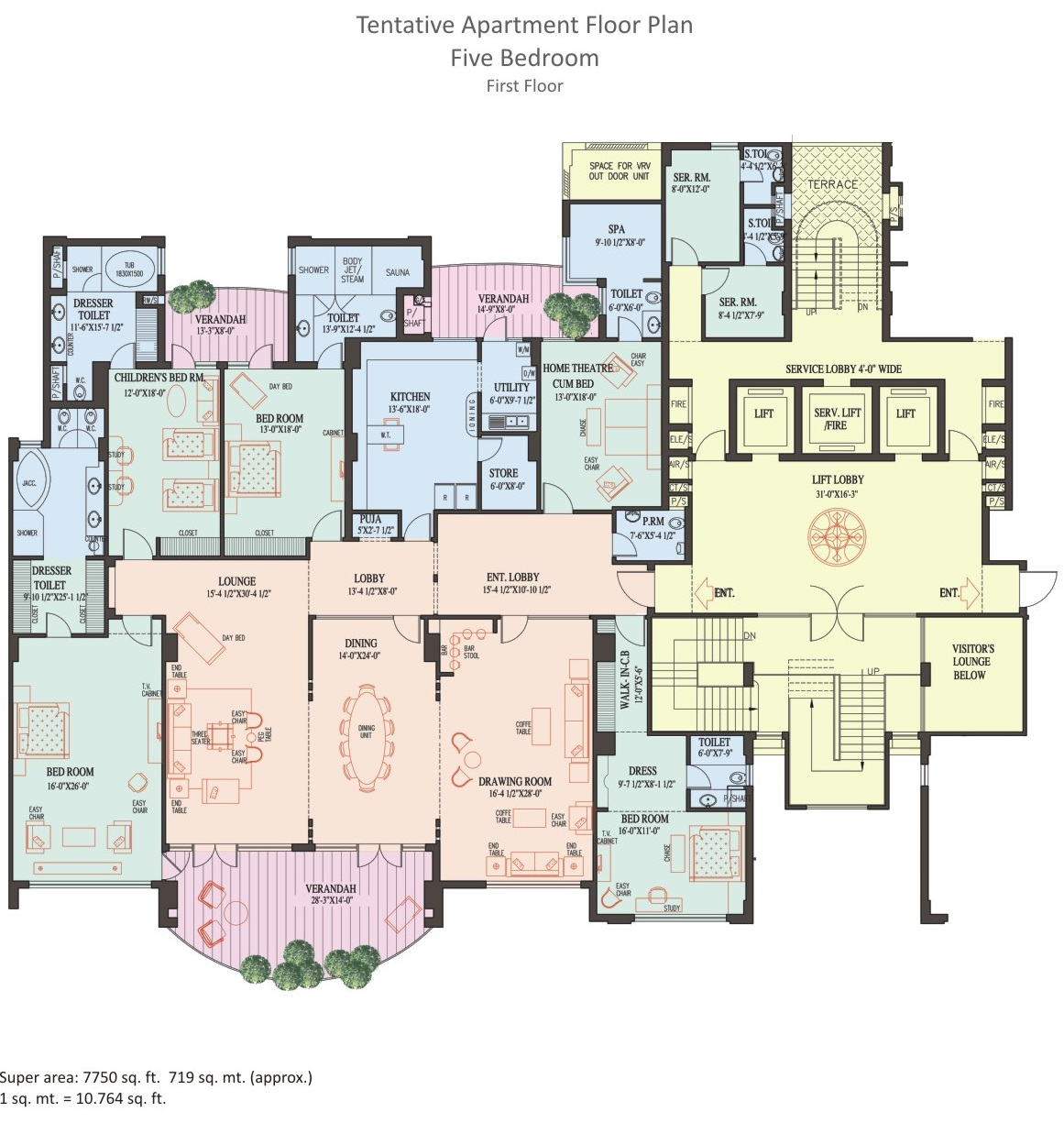 5 BHK Apartment - 1st Floor