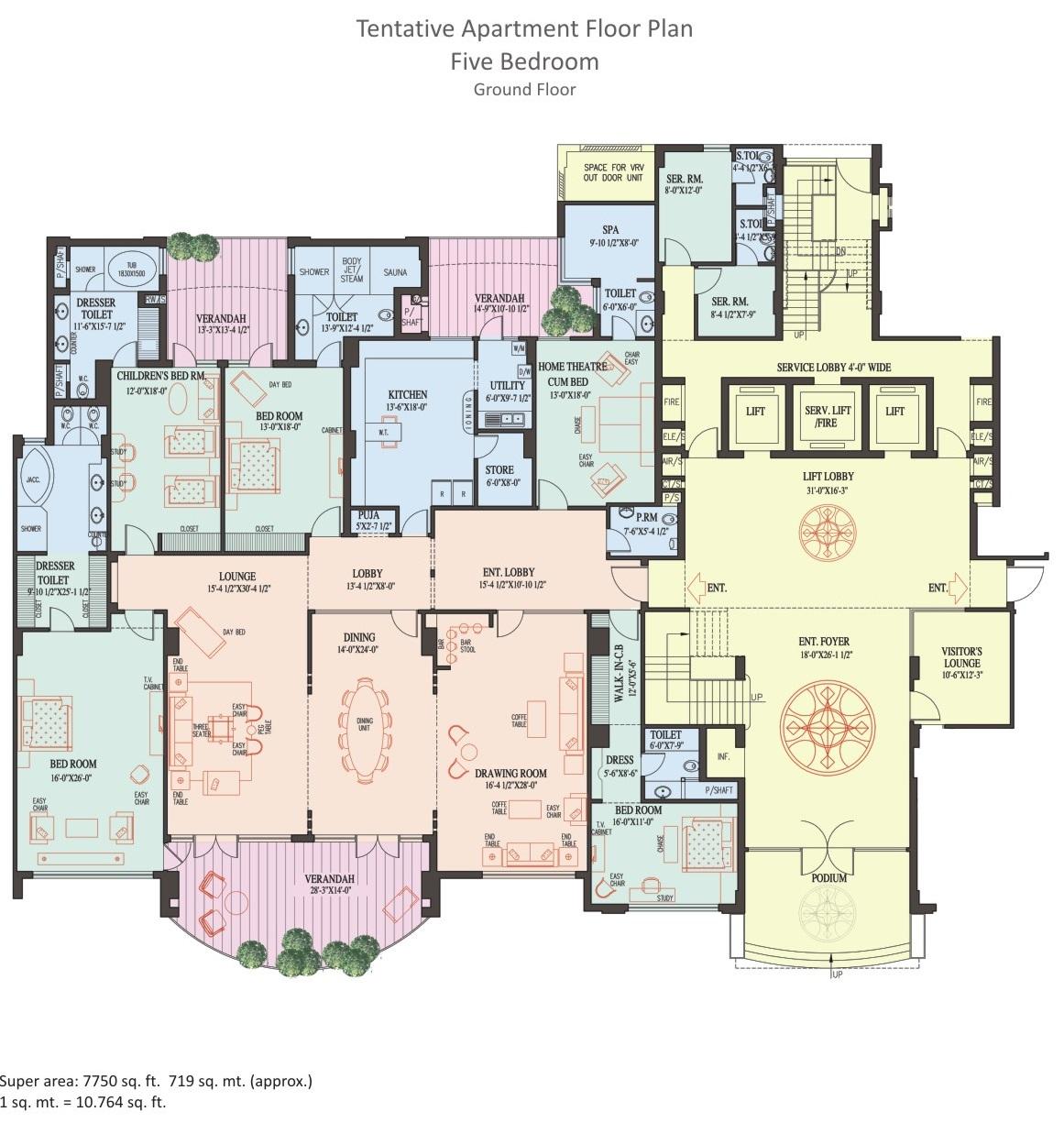 5 BHK Apartment - Ground Floor