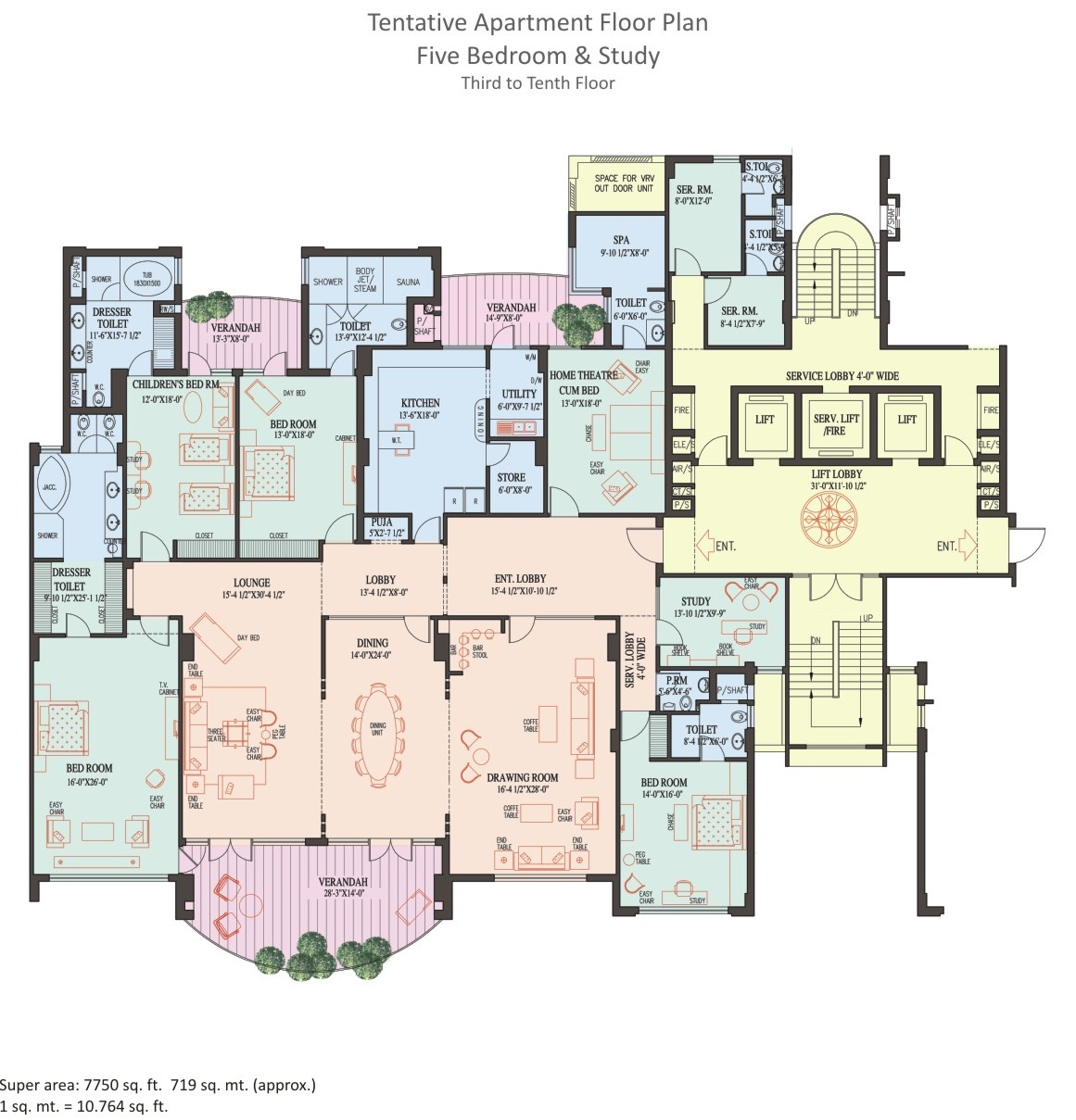 5 BHK Apartment - 3rd to 10th Floor