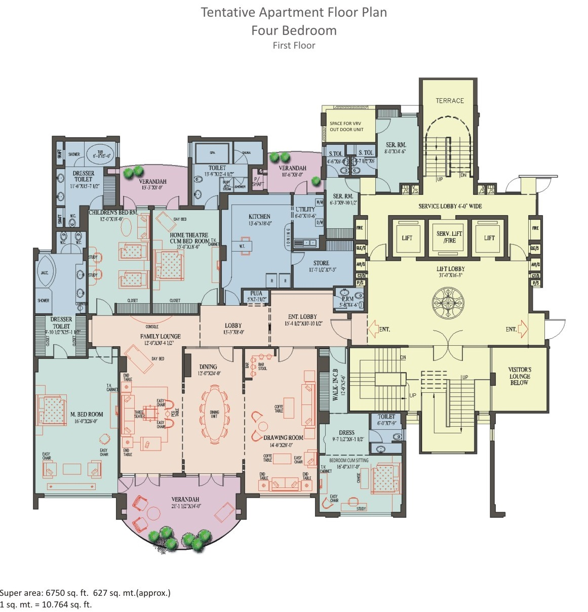 4 BHK Apartment - 1st Floor