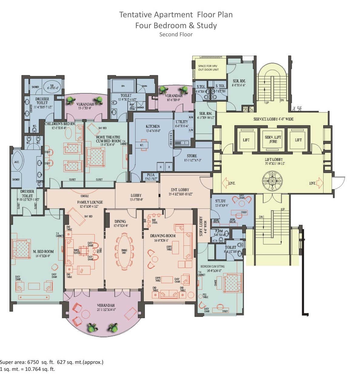 4 BHK Apartment - 2nd Floor