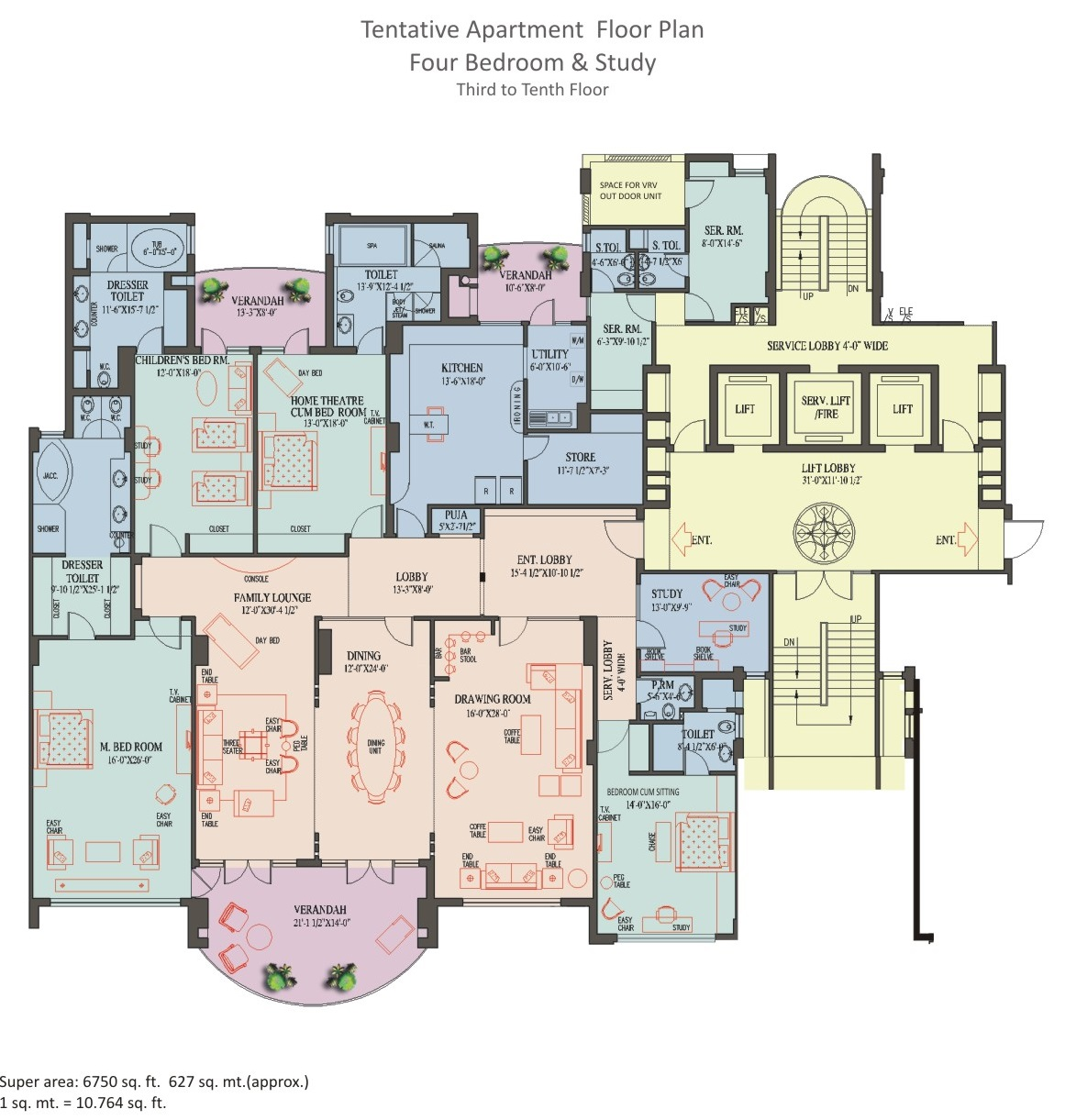 4 BHK Apartment - 3rd to 10th Floor